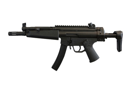 gun sight: The image of machine gun under the white background Stock Photo