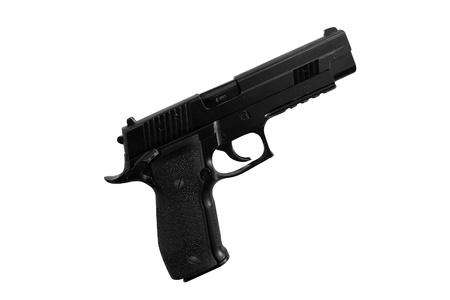 The image of gun under the white background photo