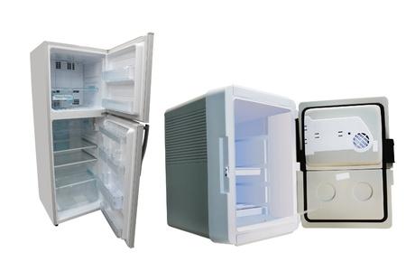The image of opened refrigerators photo