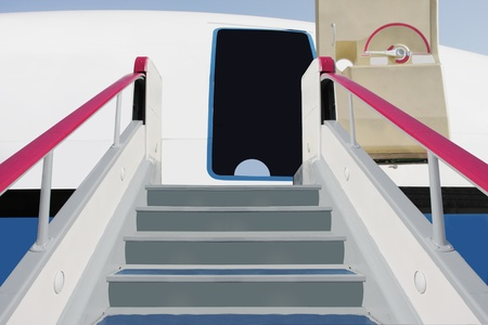 The image of a boarding ramp near the airplane photo