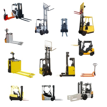 The image of different loaders under the white background photo