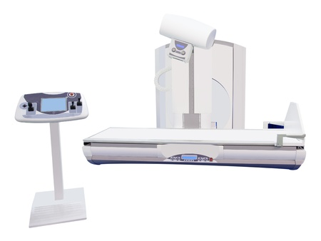 tomograph: Computerized Axial Tomography scanning and its operating console under the white background Stock Photo