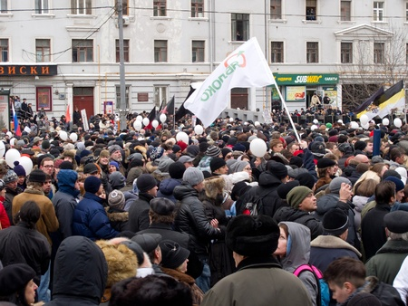 downtrodden: MOSCOW, RUSSIA - DECEMBER, 24, 2011: Participants of the protest manifestation on the Saharov square in Moscow. People remonstrate against falsification of the parliamentary election results. DECEMBER, 24, 2011 IN MOSCOW, RUSSIA
