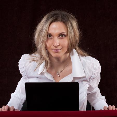 The image of secretary in aggressive position Stock Photo - 12127151