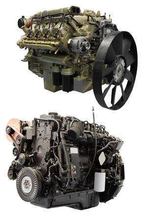 The image of an engine under the white background photo