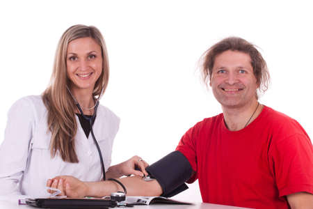Woman doctor makes a medical examination for a man Stock Photo - 12629717