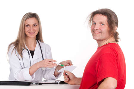 Woman doctor makes a medical examination for a man Stock Photo - 12629676