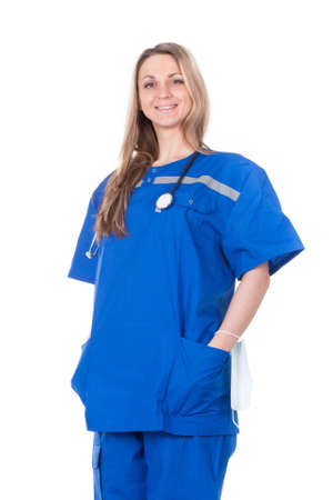 The image of an emergency woman doctor in the blue suit Stock Photo - 12629721