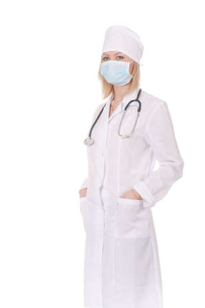 a white robe: Standing woman doctor with stethoscope in a white robe