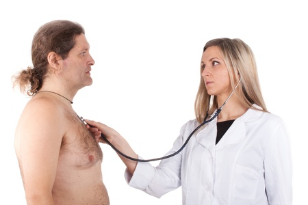 woman doctor examines man's chest with stethoscope Stock Photo - 13155395