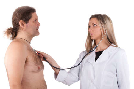 Woman doctor makes a medical examination for a man Stock Photo - 13155413