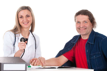 Woman doctor makes a medical examination for a man Stock Photo - 13155430