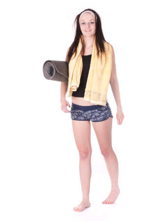 Girl with a towel and beach mattress Stock Photo - 12742164