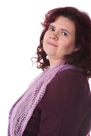 portly: middle-aged woman isolated under the white background Stock Photo