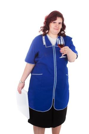 overall: mujer de mediana edad en un mono azul