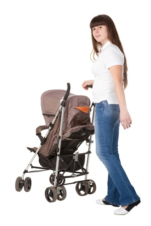 baby carriage: girl with a perambulator