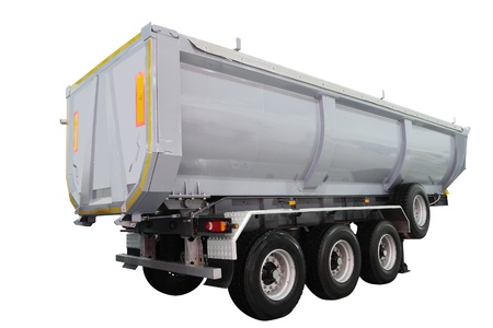 semitrailer: dumper semitrailer isolated under the white background Stock Photo