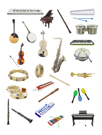 The image of music instruments under the white background photo