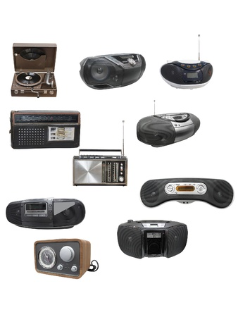 portable rom: Radio and cassette recorders under the white background