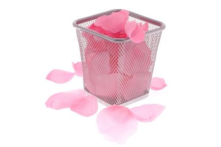 wastepaper basket: petali di rosa nel cestino sotto lo sfondo bianco Archivio Fotografico
