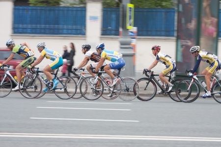 MOSCOW - MAY 9, 2012  Unidentified cyclists during the last stage of  Five rings of Moscow  cycling street race in Moscow on May 9, 2012 Stock Photo - 13796069