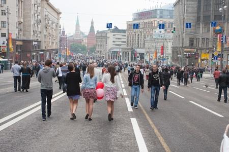 festividades: MOSC? - 09 de mayo 2012: Calle fiestas en el D?a de la Victoria en Mosc? el 09 de mayo 2012