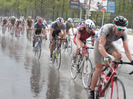 MOSCOW - MAY 8, 2012: Unidentified cyclists during the Five rings of Moscow cycling street race in Moscow on May 8, 2012