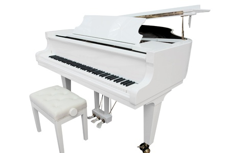 The image of a grand piano under the white background photo