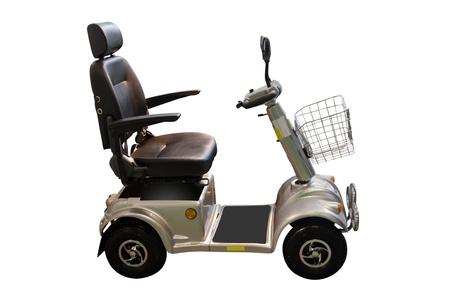 motor de carro: autopropulsado silla de ruedas en el marco del fondo blanco Foto de archivo