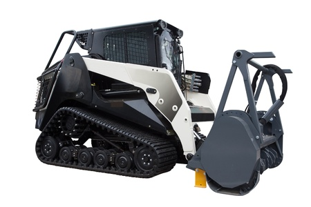 The image of a road machine under the white background photo
