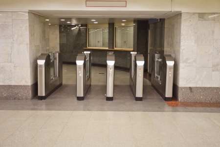 interdiction: tourniquets on the subway station Stock Photo
