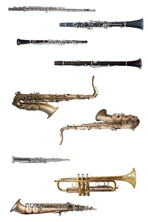 wind instruments under the white background Stock Photo