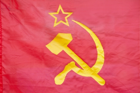 totalitarianism: Red flag with hammer and sickle