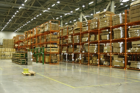 The image of shelfs in the warehouse