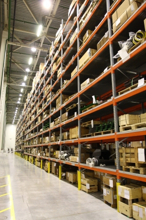 warehouse equipment: The image of shelves in the warehouse