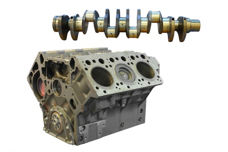 cylinder block: camshaft and cylinder block under the white background