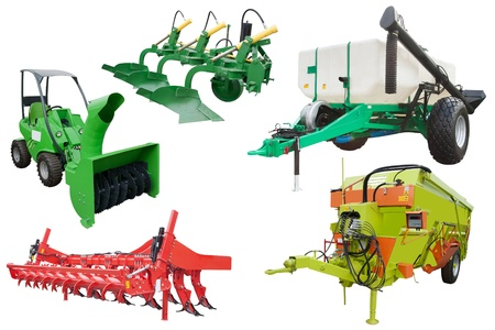 implements: The image of agricultural equipment under the white background Stock Photo