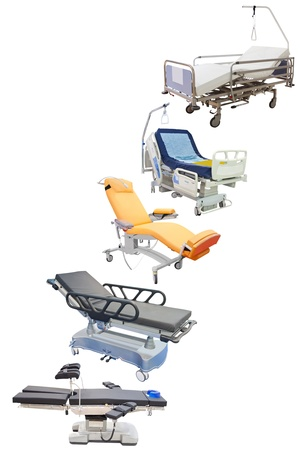 spetial: medical beds under the white background