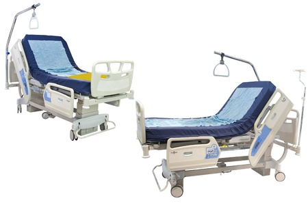spetial: medical bed in two positions under the white background