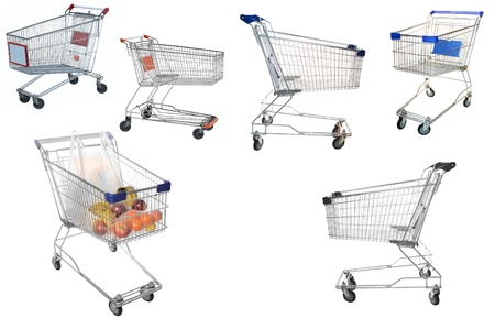 The image of shopping trolleys under the white background Stock Photo - 17430321