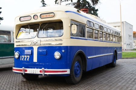 MOSCOW - OKT 14: Retro trolleybus on the 12th International transport TRANSTEK-2012 exhibition on Oktober, 14, 2012, Russia. Transtek is a regular exhibition of city and public transport,  contemporary and obsolete. Stock Photo - 17949793