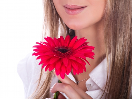 The image of woman's lips and the flower Stock Photo - 18303715