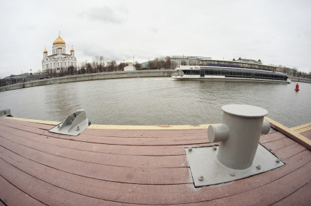 Embankment of Moscow river  View to the Temple of Christ the Savior photo