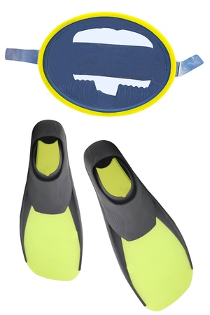 Diving mask and flippers under the white background photo