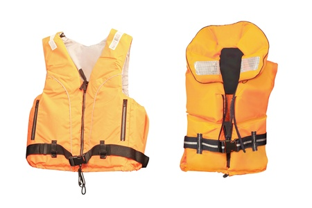 life jacket under the white background photo