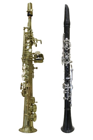 The image of a clarinet isolated under the white background photo