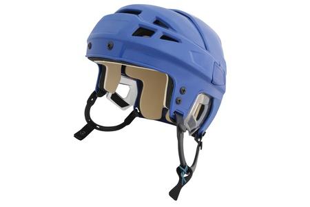 hockey ice: hockey helmet under the white background Stock Photo