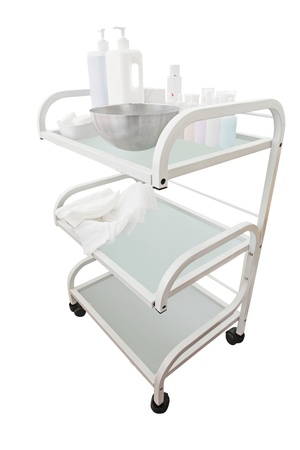 emergency cart: Medical trolley with different medicines