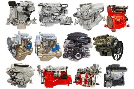 Motoren getrennt unter dem weißen Hintergrund Standard-Bild