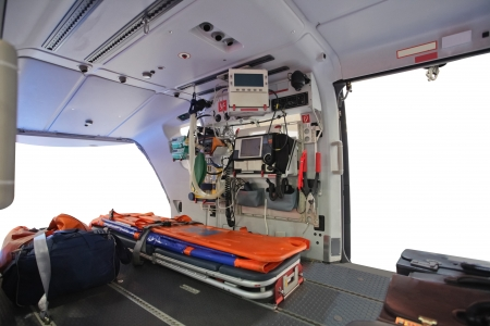 emergency stretcher: Interior of an empty ambulance helicopter